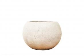 Concrete Ball Planter, White
