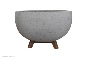 Concrete BUNGXE Bowl with wooden feet, Grey